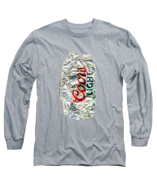 Crushed Light Silver Beer Can On Plywood 79 Long Sleeve T-Shirt