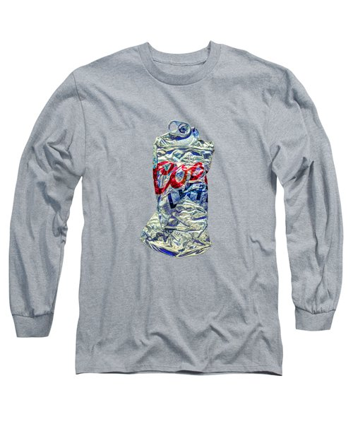 Crushed Silver Light Beer Can On Plywood 80 Long Sleeve T-Shirt