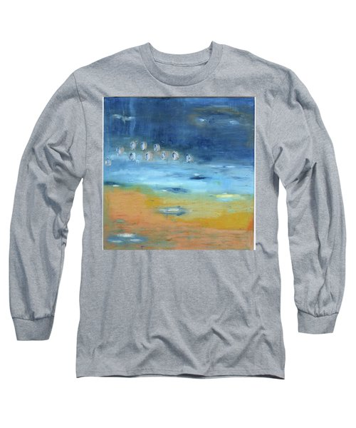 Long Sleeve T-Shirt featuring the painting Crystal Deep Waters by Michal Mitak Mahgerefteh