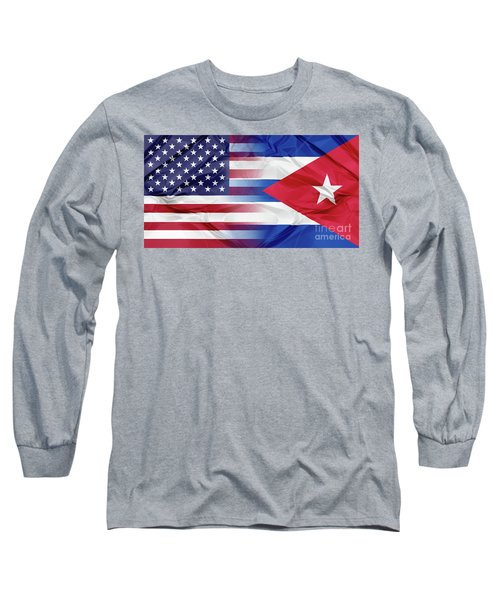 Cuba And Usa Flags Long Sleeve T-Shirt