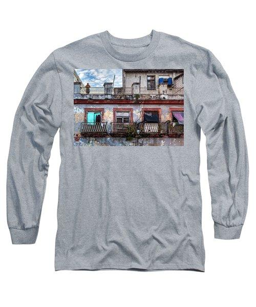 Long Sleeve T-Shirt featuring the photograph Cuban Woman At Calle Bernaza Havana Cuba by Charles Harden