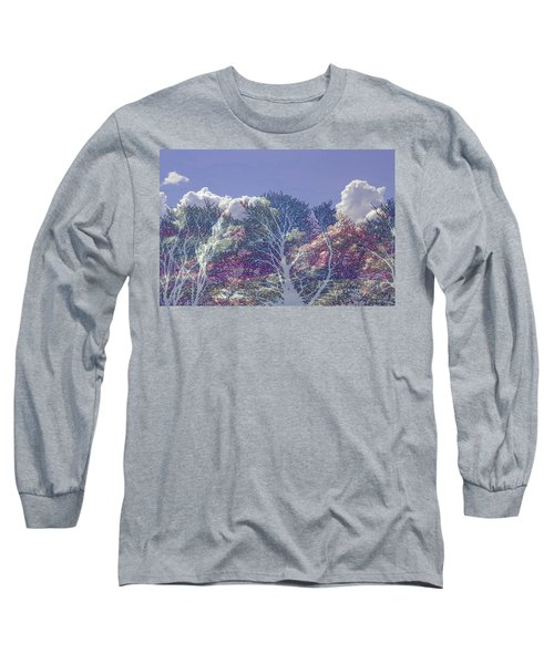 Long Sleeve T-Shirt featuring the photograph Cumulus And Trees by Nareeta Martin
