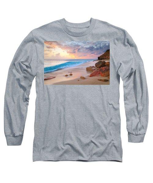 Cupecoy Beach Sunset Saint Maarten Long Sleeve T-Shirt