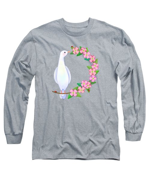D Is For Dove And Dogwood Long Sleeve T-Shirt by Valerie Drake Lesiak
