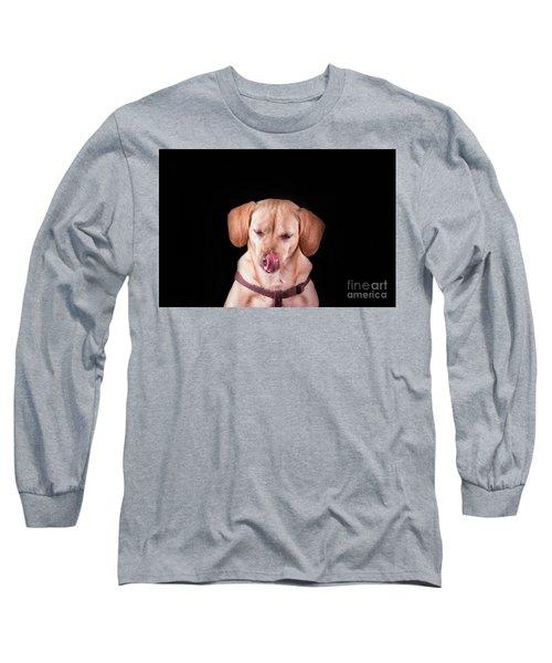 Dachshund Mix Licking Lips Long Sleeve T-Shirt