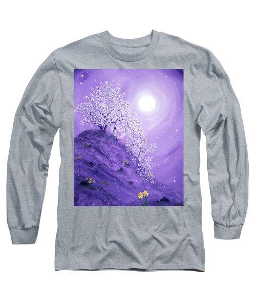 Daffodil Dawn Meditation Long Sleeve T-Shirt by Laura Iverson