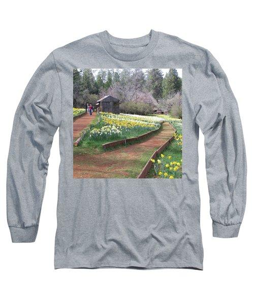 Daffodil Hill Pathway Long Sleeve T-Shirt by Karen J Shine