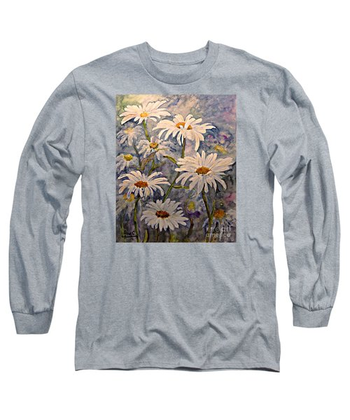 Long Sleeve T-Shirt featuring the painting Daisies Watercolor by AmaS Art