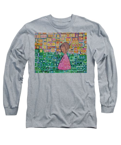 Long Sleeve T-Shirt featuring the painting Daisy by Donna Howard
