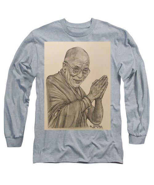 Dalai Lama Tenzin Gyatso Long Sleeve T-Shirt by Kent Chua