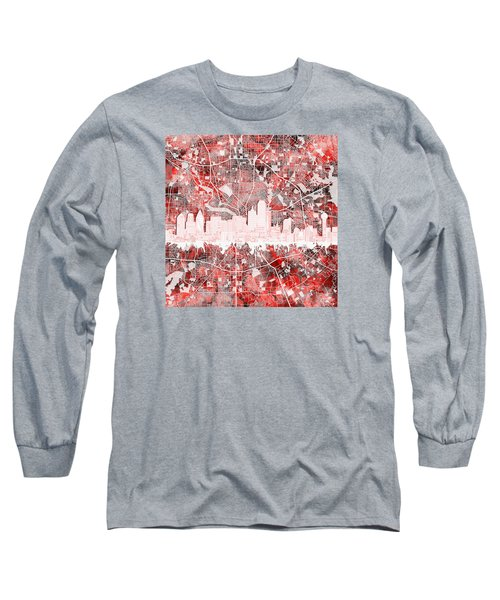 Dallas Skyline Map Red 2 Long Sleeve T-Shirt