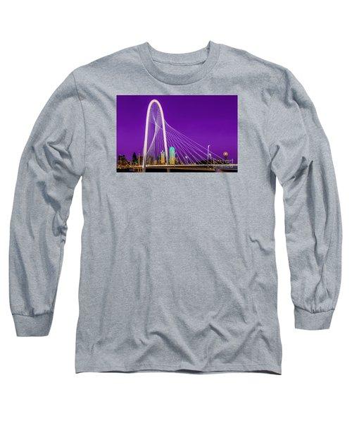 Dallas Skyline Purple Long Sleeve T-Shirt by John Roberts