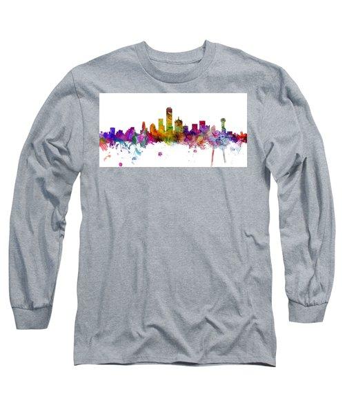 Dallas Texas Skyline Panoramic Long Sleeve T-Shirt