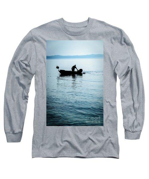 Dalmatian Coast Fisherman Silhouette, Croatia Long Sleeve T-Shirt