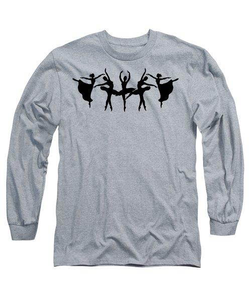 Dancing Ballerinas Silhouette Long Sleeve T-Shirt