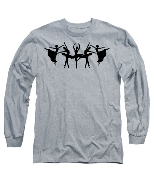 Dancing Ballerinas Silhouette Long Sleeve T-Shirt