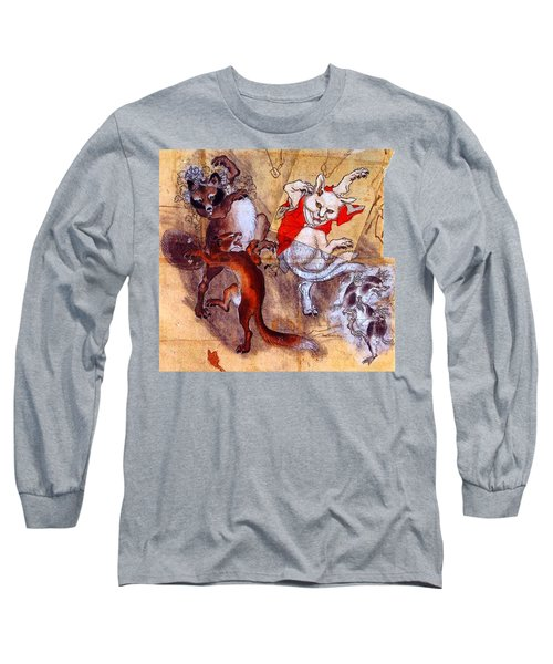 Japanese Meiji Period Dancing Feral Cat With Wild Animal Friends Long Sleeve T-Shirt by Peter Gumaer Ogden Collection