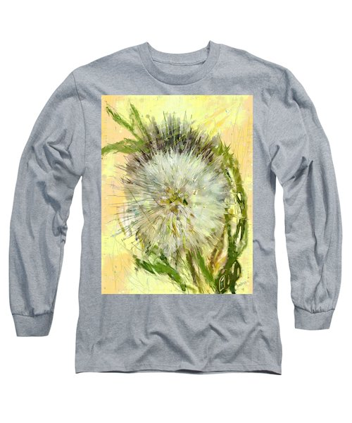 Long Sleeve T-Shirt featuring the drawing Dandelion Sunshower by Desline Vitto