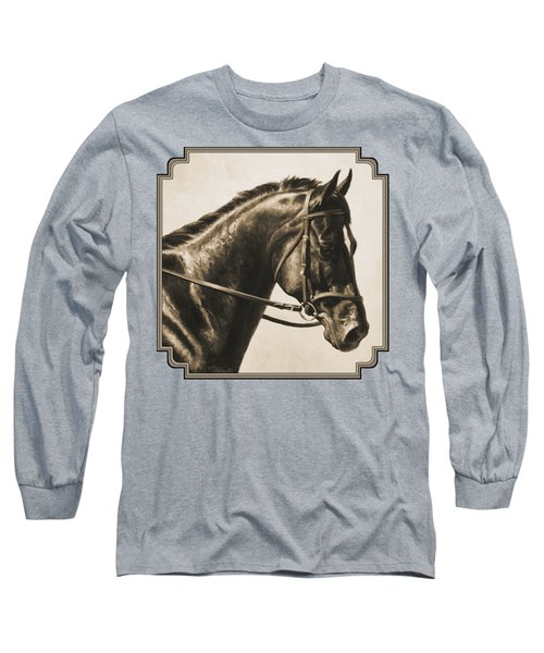 Dark Bay Dressage Horse Aged Photo Fx Long Sleeve T-Shirt