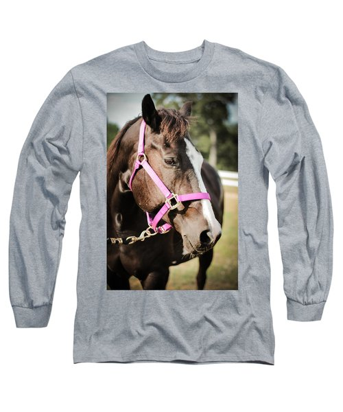 Dark Brown Horse In A Pink Bridle Long Sleeve T-Shirt