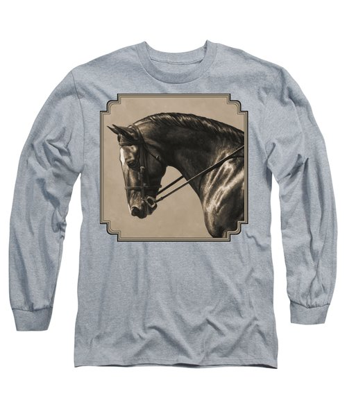 Dark Dressage Horse Aged Photo Fx Long Sleeve T-Shirt