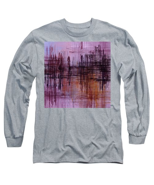 Dark Lines Abstract And Minimalist Painting Long Sleeve T-Shirt by Ayse Deniz