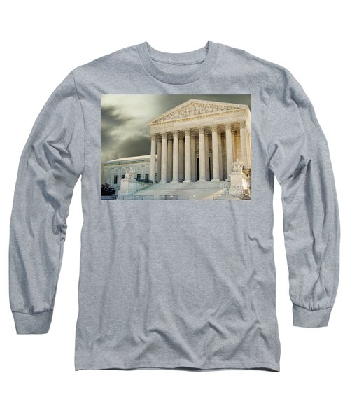 Dark Skies Above Supreme Court Of Justice Long Sleeve T-Shirt by Patricia Hofmeester