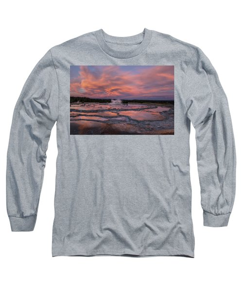 Long Sleeve T-Shirt featuring the photograph Dawn At Great Fountain Geyser by Roman Kurywczak