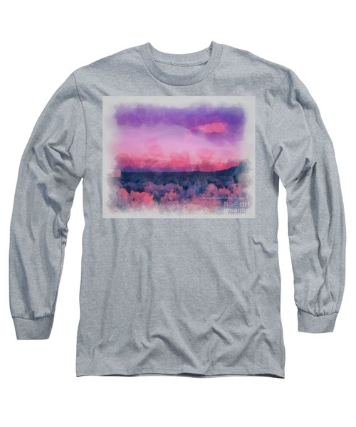Dawn In Taos In Aquarelle Long Sleeve T-Shirt
