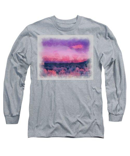 Dawn In Taos In Aquarelle Long Sleeve T-Shirt