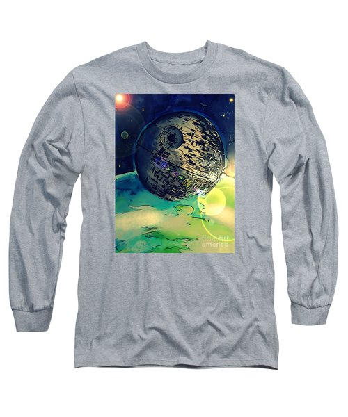 Death Star Illustration  Long Sleeve T-Shirt by Justin Moore