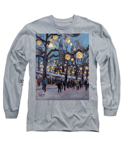 December Lights At The Our Lady Square Maastricht 1 Long Sleeve T-Shirt by Nop Briex