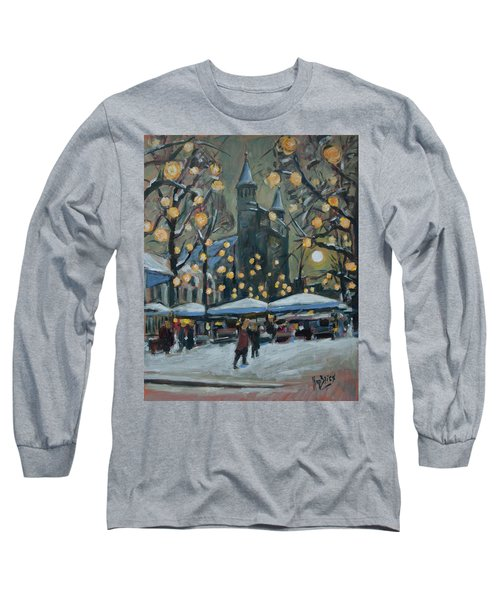 December Lights At The Our Lady Square Maastricht 2 Long Sleeve T-Shirt by Nop Briex