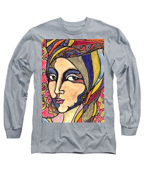 Long Sleeve T-Shirt featuring the painting Decoface 3 by Rae Chichilnitsky