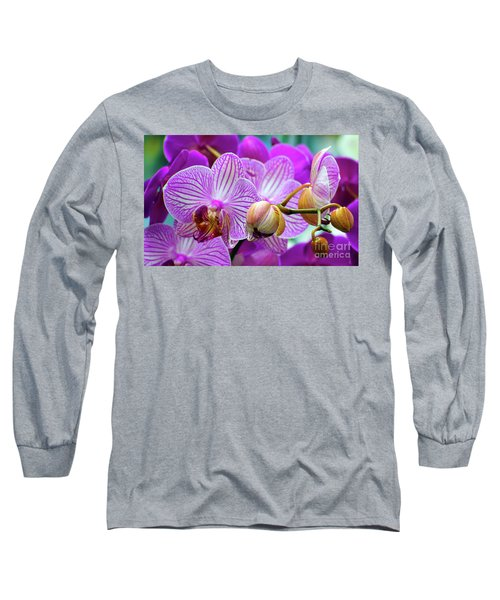 Decorative Fuschia Orchid Still Life Long Sleeve T-Shirt
