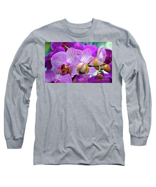Decorative Fuschia Orchid Still Life Long Sleeve T-Shirt