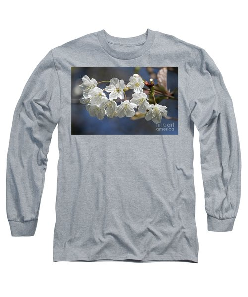 Deep Blue  Cherry Blossom Long Sleeve T-Shirt