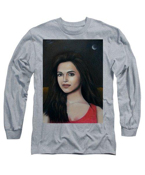 Deepika Padukone - The Enigmatic Expression Long Sleeve T-Shirt by Vishvesh Tadsare