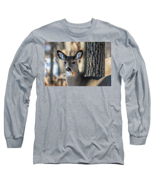 Long Sleeve T-Shirt featuring the photograph Deer At The Salad Bar by Paul Freidlund