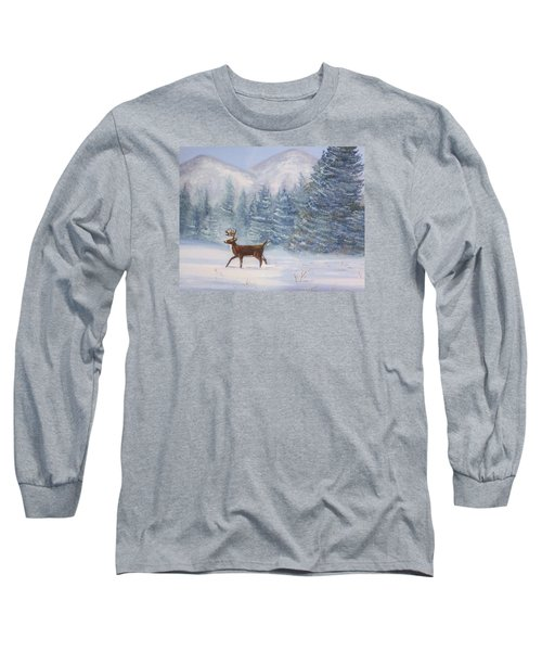 Deer In The Snow Long Sleeve T-Shirt by Denise Fulmer