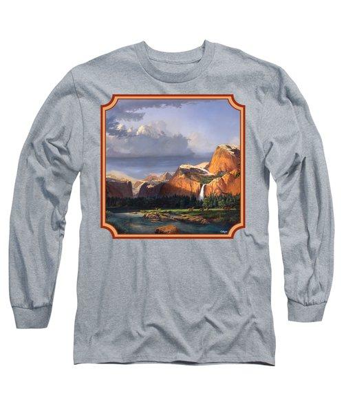 Deer Meadow Mountains Western Stream Deer Waterfall Landscape - Square Format Long Sleeve T-Shirt