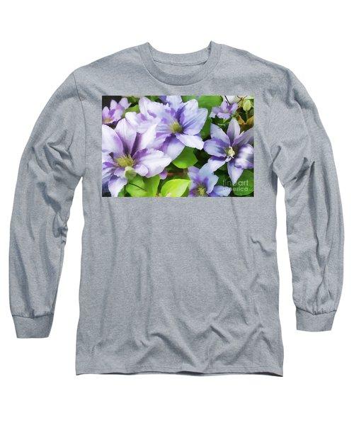 Delicate Climbing Clematis  Long Sleeve T-Shirt by Judy Palkimas