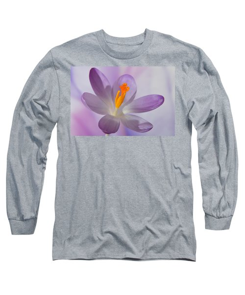 Delicate Spring Crocus. Long Sleeve T-Shirt by Terence Davis