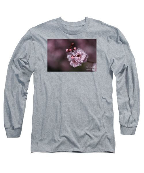 Delightful Pink Prunus Flowers Long Sleeve T-Shirt