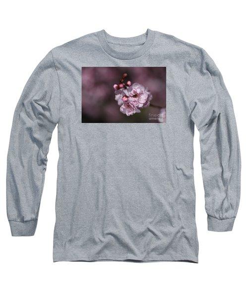 Delightful Pink Prunus Flowers Long Sleeve T-Shirt
