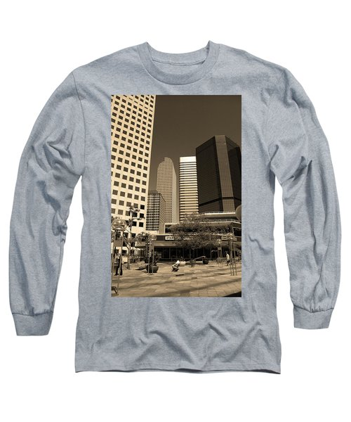 Long Sleeve T-Shirt featuring the photograph Denver Architecture Sepia by Frank Romeo