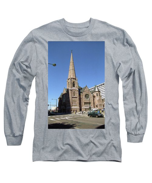 Long Sleeve T-Shirt featuring the photograph Denver Downtown Church by Frank Romeo
