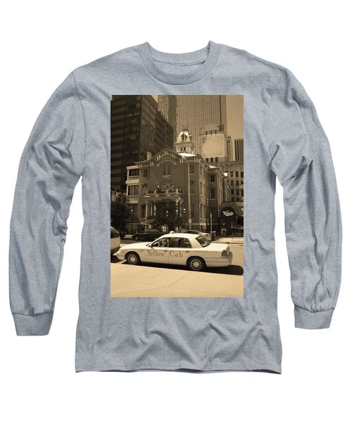 Long Sleeve T-Shirt featuring the photograph Denver Downtown With Yellow Cab Sepia by Frank Romeo