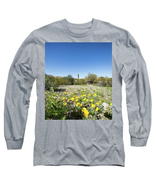 Long Sleeve T-Shirt featuring the photograph Desert Flowers And Cactus by Ed Cilley