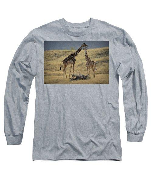 Desert Palm Giraffe Long Sleeve T-Shirt by Guy Hoffman